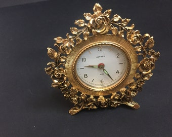 Vintage Working Matson Rose Wind Up Footed Clock