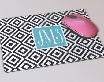 Fabric Mousepad, Mousemat, 5mm Black Rubber Base, 19 x 23 cm - Black and White Geometric Patterned Monogrammed Mousepad Mousemat