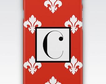 Case for iPhone 8, iPhone 6s,  iPhone 5s,  iPhone SE,  iPhone 5c,  iPhone 7,  Red & White Monogram iPhone,  Fleur De Lys iPhone