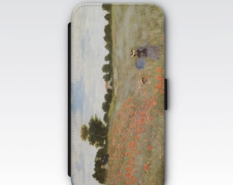 Wallet Case for iPhone 8 Plus, iPhone 8, iPhone 7 Plus, iPhone 7, iPhone 6, iPhone 6s, iPhone 5/5s -  Poppy Field Coquelicots by Monet