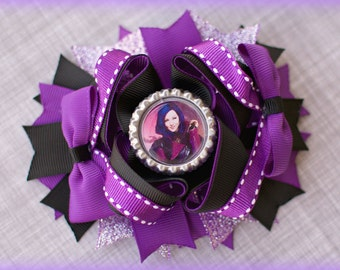 Mal Descendants | Mal Hair Bow | Mal Hair Accessories | Descendants bow | Mal Birthday Bow | Descendants Party