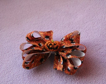 Black and Orange Pumpkin and Spider Halloween Bow
