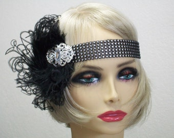 Jazz Age Glamour1920s Flapper1920s Fashion Women1920s Style Black 1920s Headband, Flapper Headband, 1920s Headpiece, 1920s Hair Accessory