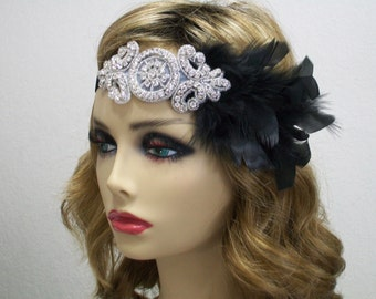 Great Gatsby headpiece, 1920s headpiece, Flapper headband, Feather headband, Downton Abbey, Rhinestone headband, 1920s hair accessory