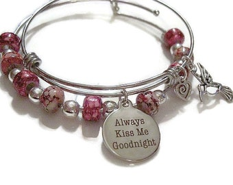 Always Kiss Me Goodnight - Adjustable Wire expandable stacking bangle,Adjustable Bracelet,One Size
