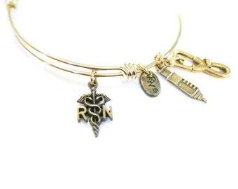RN (REGISTERED NURSE) Gold Adjustable Charm Bangle, Nurse bracelet, Charm Bracelet,One Size Fits Most!