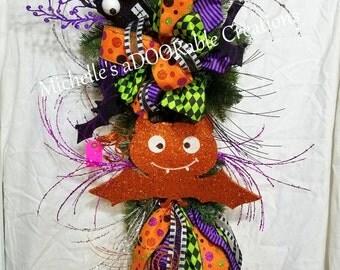 Orange Bat Halloween Glitter Wreath - Halloween Bat Teardrop Swag Wreath