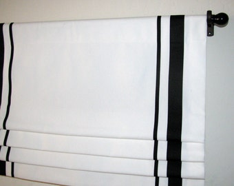 "Custom Order Faux Roman Shade White/ Black Ribbon Trim/ 50"" W 20""L/ Lined/ Living Room/ Bedroom/ Kitchen/ Office/ Nursery/ Affordable/ Bath"