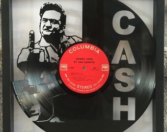 """Johnny Cash """"At San Quentin"""" cut vinyl LP record framed art collectible gift"""