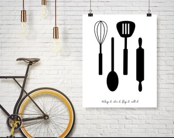 Kitchen Art - Black Silhouette Kitchen Utensils Whisk Spoon Spatula Rolling Pin - Any Color Poster Wall Art Card Home Decor Typography Quote