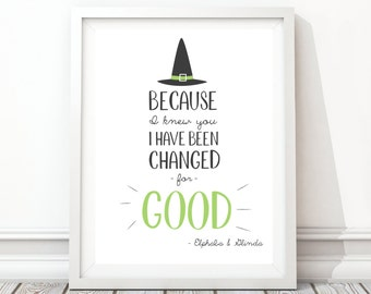 Digital Download, 8x10, Printable, I Have Been Changed For Good, Wicked The Musical, Quote Print, Art Print, Broadway Musical