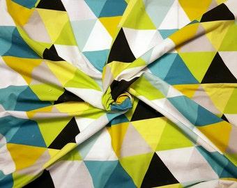 Organic Cotton Blanket // Aqua Lime Triangles // Swaddle
