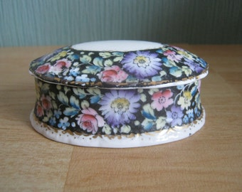 Vintage Delphine Crown China Floral Trinket box
