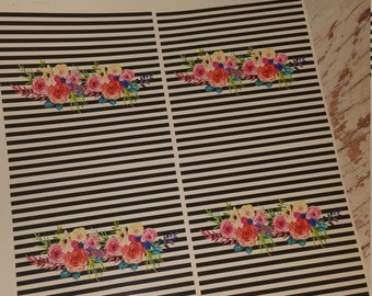 Striped, Flowers, Black/white, Pattern Vinyl, HTV, Permanent Adhesive, FLoral
