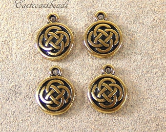 4 Pieces Celtic Round Drop Celtic Charm Antiqued Gold Plated Pewter  By TIERRACAST~Lead Free Celtic Round Drop 3326