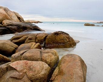 Wingaersheek Beach in Winter, Rocky Beach Landscape with Turqoise Water, Calm Ocean Scene with Big Smooth Rocks, Digital Download