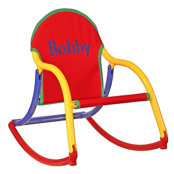 Personalized childrens rocking chair in primary canvas that folds and ...