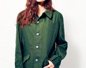 Vintage Women's 1960s 1970s Swedish Army jacket M59 military coat combat field collar tabs