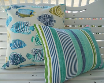 Turquoise Fish Outdoor Pillow Cover Beach Stripe Patio Porch Decorative Throw Pillow Aqua Navy Green Coastal Decor