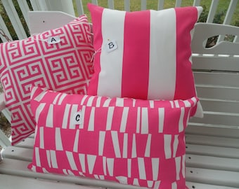 Preppy Pink Outdoor Pillow Cover Hot Pink White Patio Porch Cushion Geometric Stripe Decorative Throw Pillow