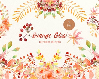 Watercolor Collection Orange Glow - Autumn themed leaf, flowers, berries and decorative elements for instant download, fall color, clipart