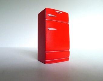 Handmade Dollhouse Miniature Vintage Refrigerator in Bright Red