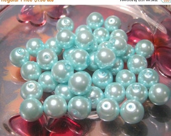 50% OFF Clearance Sale 10pcs Blue Glass Pearl Beads 10mm Round, B-2