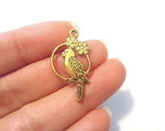 Antique Gold Plated Bird Charms Pendants 28x15x2mm Double sided
