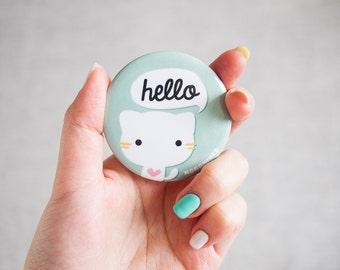Cute Meowchi Cat Round Pocket Mirror - Hand Mirror - Make-up Mirror
