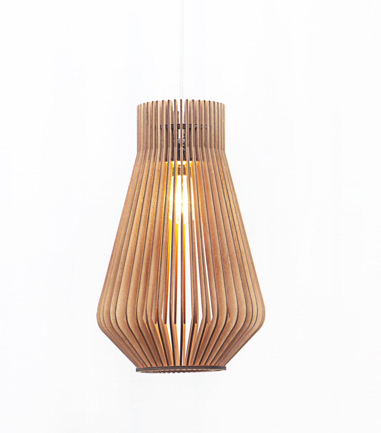Already assembled scandinavian style wooden hanging lamp for Lampe design scandinave