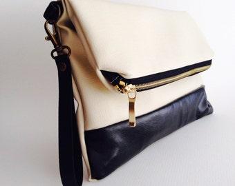 Fold over zipper clutch