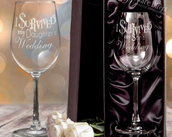 Engraved Wine Glass I Survived My Daughters Wedding or Son Wedding Gift Box