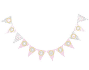 Pink Elephant Pennant Banner, Party Decorations, Baby Shower Banner