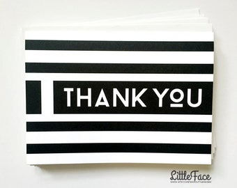 Set of Thank You Cards, Set of 5 Cards, Striped Cards