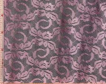 "Light Pink Small Shiny Flower Lace Fabric 4 Way Stretch Nylon 58-60"""