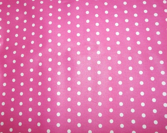 Fabric - Laminated cotton - Pink and white polka dot print