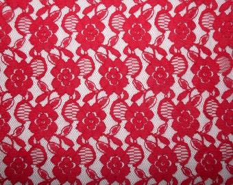 Fabric - Non- stretch lace - dark red
