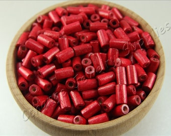 Tube Wood Beads, 100 pcs Wooden Beads, (8mm x 4mm) Red Wood Bead, Cylinder Natural Wood Beads, Craft Wood Beads, Wooden Beads