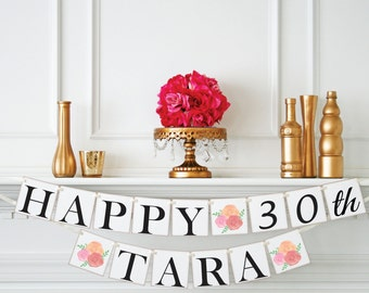 30th Birthday Banner, Happy Birthday Banner, Personalized Birthday Banner, Shabby Chic Birthday Decoration, Happy Birthday Sign, B101