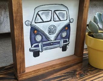 Purple volkswagon van painting, vw bus, wooden sign, hand painted
