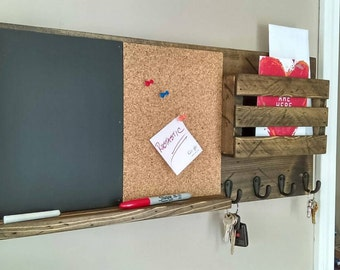 Cork Board and Chalk Board, Mail Organizer, Rustic Organizer, Key Holder, Mail Holder, Personalized Option Available