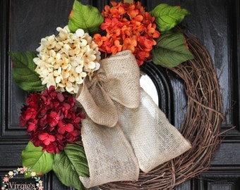 Hydrangea Wreath-Fall Wreath-Front Door Wreath-Autumn Wreath-Everyday Wreath-Thanksgiving-Mothers Day Gift