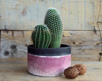 raku ceramic planter pot for cactus, pink and black