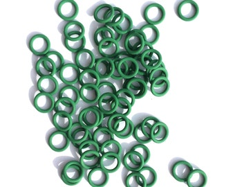 """100 Pieces of 18 Gauge 3/16"""" GREEN EPDM Chainmail Rings - Chainmail Supplies, RUBBER Jump Rings, Jewelry Supplies, Stretchy Jump Rings"""