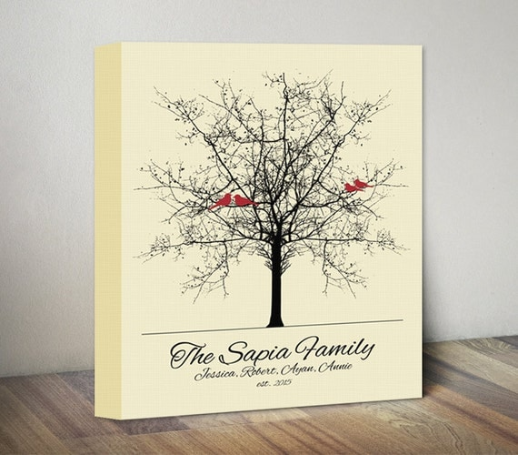Wedding Gift Canvas Painting : Family Tree Canvas Art, Wedding Anniversary Gift for Couple Gift ...