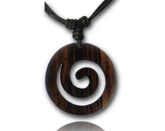 Wooden necklace, black necklace made of cotton with a spiral-shaped Brown wood trailer from Sonoholz, hand-carved, 4 cm Ø