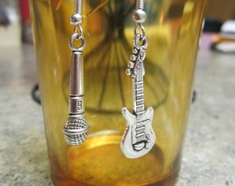 Microphone / Bass Guitar Earrings - 1 pair - Free Shipping!