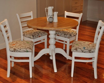 S O L D - Charming round colonial pedestal table and four upholstered chairs