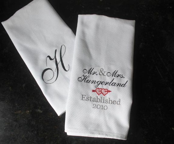 Personalized Wedding Gifts Kitchen : , personalized wedding kitchen towel set, personalized couple wedding ...
