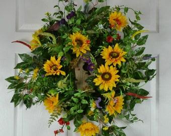 Sunflower Door Wreath - Birdhouse Wreaths - Front Door Wreaths - Outdoor Summer Decorations - Summer Birdhouse Wreath